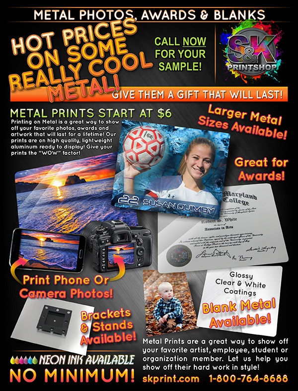 Make a great impression with Metal! Print your favorite photos, your child's artwork, an employee's award or any other item that you would normally print on paper, but on Metal for that extra lasting WOW factor! Our 8''x10'' Metal Prints let you show off your artwork and awards in a unique way. Each print comes ready to hang with our NEW Mounting Bracket! Show them that they are truly appreciated with an 8