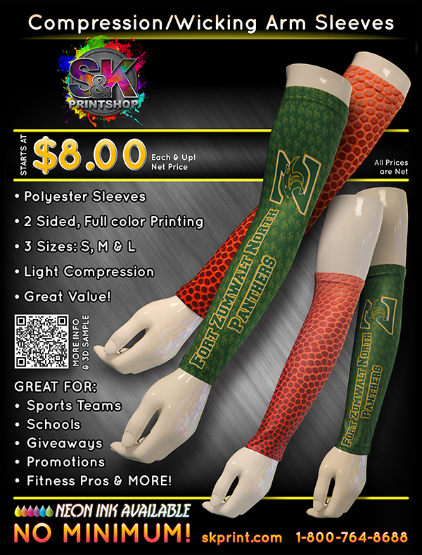 ARM SLEEVES! - S&K wants to help you and your favorite player stand out on the field. We have created our own arm sleeve for great support, comfort and print! We have created 3 different sizes to fit most players. Why not give S&K's new artm sleeves a try today...maybe it will turn into your new good luck charm on dame day!