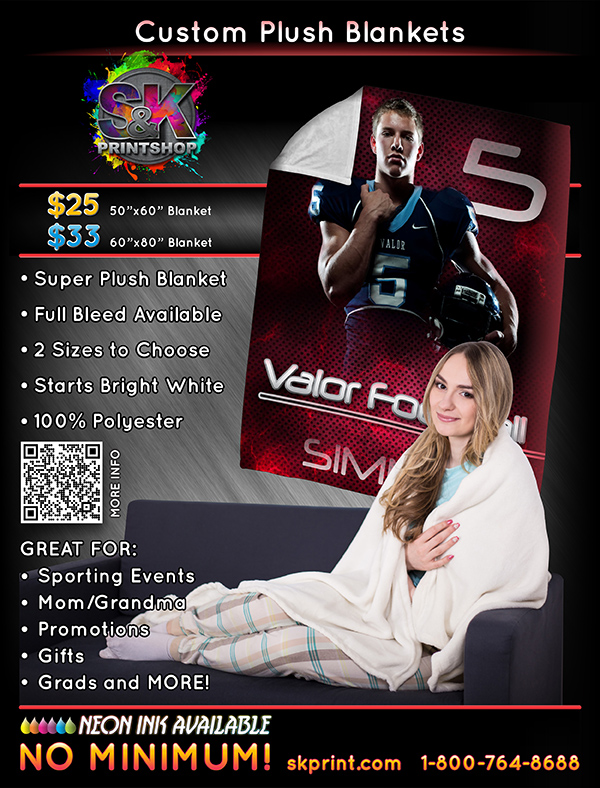 Custom Printed Dye Sublimated Plush Blankets. Starting at $25 you can give the gift of warmth!