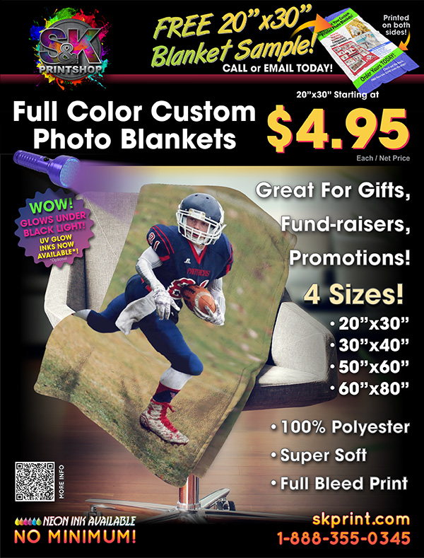 FULL COLOR PHOTO BLANKETS - These Photo Blankets are not only beautiful, but they are so soft and warm! Our Photo Blankets are made of 100% polyester and can be printed full bleed with standard or UV light Glow Inks for a truly unique product. These are great for yourself or as a gift, promotional item and more. We now have 4 sizes for just about any situation: 20x30, 30x40, 50x60 and 60x80 inches. Visit us at skprint.com to place your Photo Blanket order today!